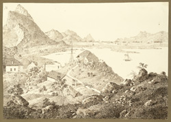 Another view of the lake and bungalow of Christopher Webb Smith from the Murad Hill (Bihar) behind the house. 28 December 1824
